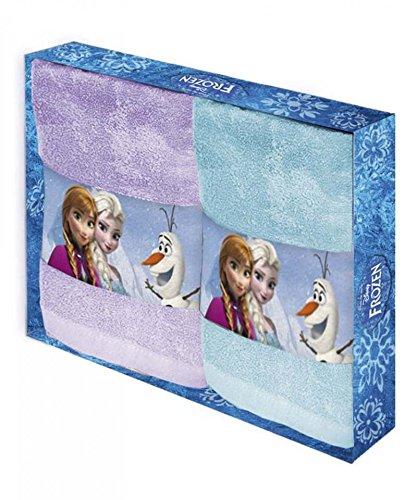 Set 2 asciugamano in spugna FROZEN ELEGA DISNEY Caleffi asciugamani salvietta