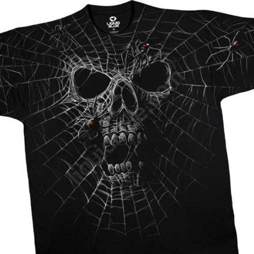 Web Skull T-Shirt, Black Widow SKull Liquid Blue Full Shirt Designs, XX-Large, Black