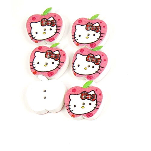 Sewing-Buttons-0221-Hello-Kitty-Apple-Shape-Wood-Multi-Pattern-Cartoon-Fasteners-Supplies-Sew-On-Arts