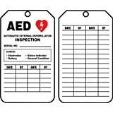 """Accuform Signs TRS345CTP Inspection Record Tag, Legend """"AED AUTOMATED EXTERNAL DEFIBRILLATOR INSPECTION"""", 5.75"""" Length x 3.25"""" Width x 0.010"""" Thickness, PF-Cardstock, Red/ Black on White (Pack of 25)"""