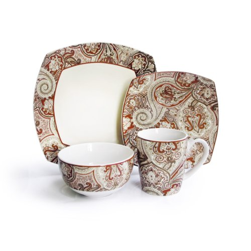Waverly 16-Piece Paddock Shawl Dinnerware Set, Rust