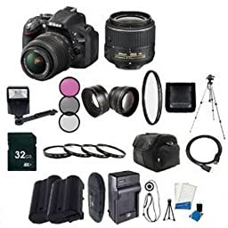 Nikon D5200 24.1 MP CMOS Digital SLR with 18-55mm f/3.5-5.6 AF-S DX VR Lens (Black) - International Version (No Warranty) + EN-EL14 Replacement Li-on Battery + Rapid Travel Charger + 32GB SDHC Class 10 Memory Card + 52mm Macro Close Up Kit + 52mm Wide Ang
