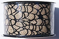 Black Spider Web Halloween Wired Burlap Ribbon Spool - 2.5