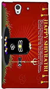 Timpax Protective Armour Case Cover. Multicolour Printed Design : Maha Shivaratri Wishes Message .Exactly Design For : Sony L36-H ( Sony 36 )