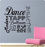 """24"""" Dance Sayings Collage Girl Tapp Ballet Jazz Modern Ballroom Sports Wall Decal Sticker Art Mural Home Décor Quote"""