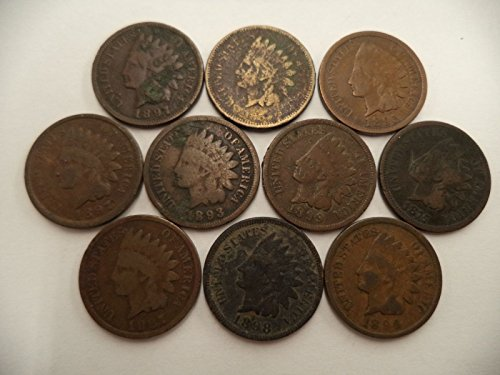 1880 thru 1899 Various Indian Head Pennies 5 Different Dates -- in Gift Bag Indian Head Good and Better (Indian Head Coin compare prices)