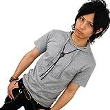 選べる8色/3サイズ/パーカー/Tシャツ/メンズ/半袖[グレー/灰]細/タイト[f81/L]