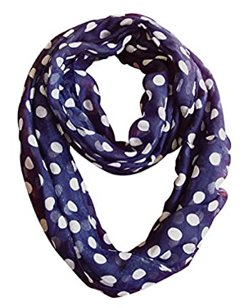 Peach Couture Light and Sheer Polka Dot Circle Print Infinity Loop Scarf (Navy)
