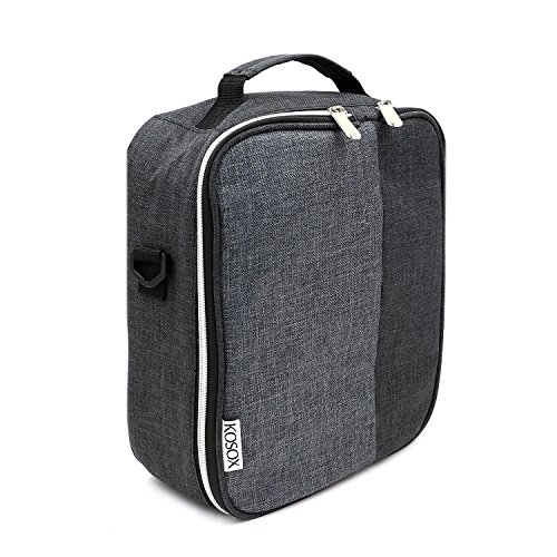 Lunch Bag, KOSOX Collapsible Multi-Layers Thermal Insulated Oxford Lunch Tote, Waterproof Cooler Bag with Shoulder Strap, for Diet Management (Black Beige) (Bento Box With Ice Pack compare prices)