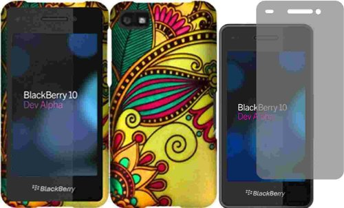 For Blackberry Z10 Hard Design Cover Case Antique Flower + Lcd Screen Protector Accessory