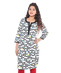 Lal Chhadi Women's 3/4 Sleeve Cotton Round Neck Kurta