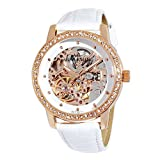 AK Anne Klein Women's 109154WTWT Automatic Swarovski Crystal Accented Rose Gold-Tone Leather Watch