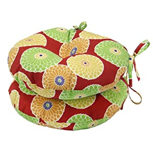 Greendale+Home+Fashions Greendale Home Fashions Round Outdoor Bistro Chair Cushion, 15-Inch, Flowers on Red, Set of 2