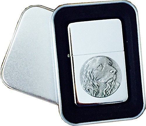 Chrome Star Lighter with Pewter Cocker Spaniel Dog Emblem, Complete with Metal Gift Tin