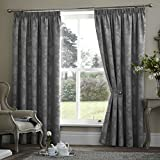 Period style Curtains THERMAL Lined Jacquard CHARCOAL GREY SILVER Patio Living Size This Pair : 90x90