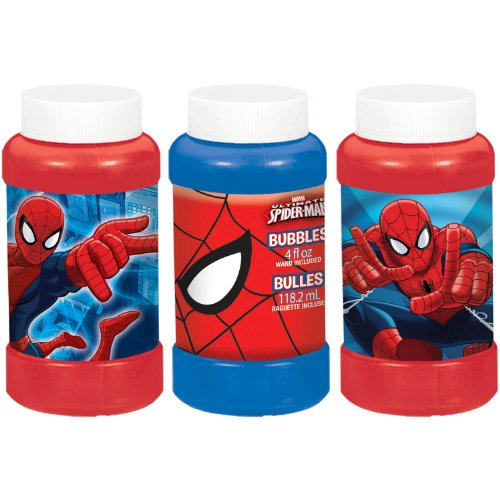 Ultimate Spider Man Bubble Maker Birthday Party Favor, 4 oz, Blue/Red