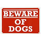 "SmartSign Aluminum Sign, Legend ""Beware of Dogs"", 7"" high x 10"" wide, White on Red"