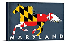 Maryland - Horse Flag (36x24 Gallery Wrapped Stretched Canvas)