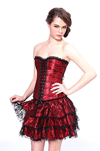 Angel&Me Sexy Small Size Red Spandex satin Black Pattern Black Lace Corset Bustiers