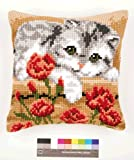 Vervaco Cat with Flowers Cross Stitch Cushion