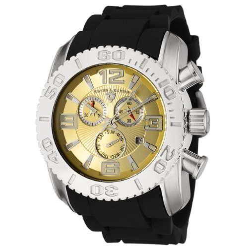 Swiss Legend Men&#8217;s 20067-10 Commander Collection Chronograph Gold Dial Black Rubber Watch