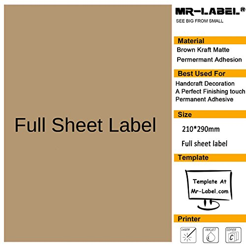 Mr-Label® Full Sheet Extra Large Size Kraft Labels -Self Adhesive Stickers for Gift Decoration|Hand Craft| Finishing Touch(25 Sheets)