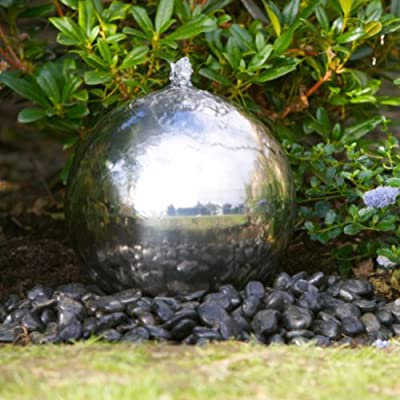 Small Solar Powered Water Feature Stainless Steel Sphere PC210