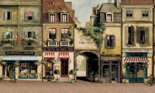 York Wallcoverings Europa Ii Paris Cafe Prepasted Mural, Earthy Browns/Stone Gray/Red/White/Black front-504811