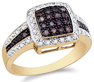 Size 7 - 14K Yellow and White Two Tone Gold White and Chocolate Brown Diamond Halo Engagement OR Fashion Right Hand Ring Band - Square Princess Shape Center Setting w/ Channel Set Round Diamonds - (1/2 cttw)