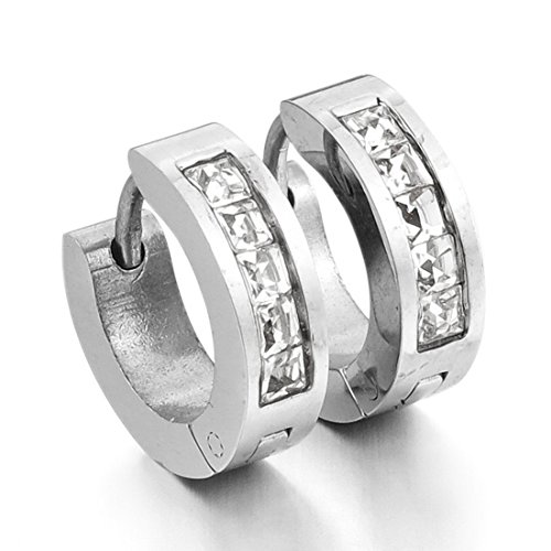 Men,Women's Stainless Steel Stud Hoop huggie Earrings CZ Silver Charm Elegant (with Gift Bag) Review