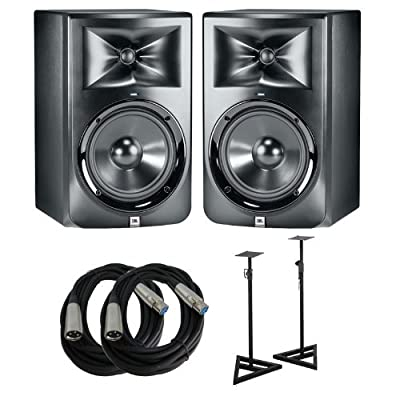JBL LSR308 Studio Monitors with Cables and Stands Bundle from JBL