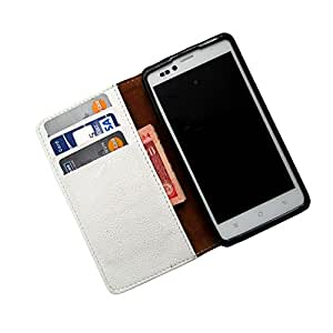 i-KitPit PU Leather Wallet Flip Case For Micromax Doodle 3 A102 (WHITE)