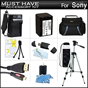 "Must Have Accessory Kit For Sony HDR-CX230, HDR-CX330, HDR-CX900, HDR-PJ810, HDR-PJ540, HDR-PJ340, HDR-PJ670, FDR-AX33 HD Camcorder Includes Replacement (2300Mah) NP-FV70 Battery + Ac / DC Charger + Deluxe Case + 50"" Tripod + Micro HDMI Cable + Much More"