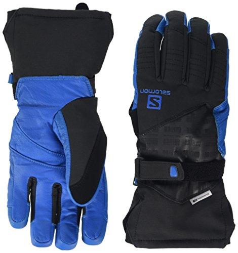 Salomon L37599800 Guanti da sci Resistenti all'acqua Sottili Uomo, Frontside-Skiing-Gloves, Utilizzabili con Touchscreen, Palmo in pelle, PROPELLER DRY M, Taglia: L, Nero