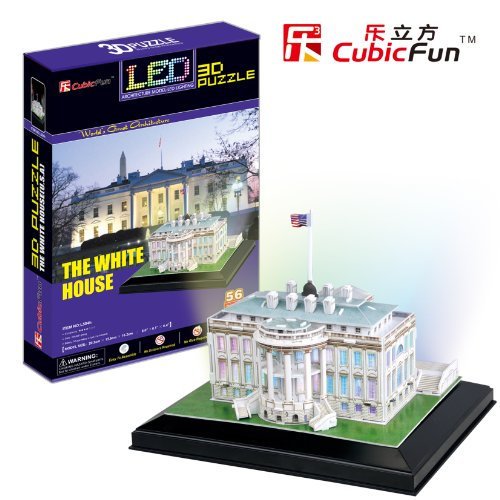 Free Shipping!Diy 3D Puzzle Paper Model The White House With Led Light 64Pcs Home/Office Decoration