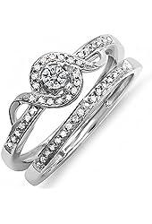 0.25 Carat (ctw) Sterling Silver Round Diamond Ladies Bridal Promise Ring Set Matching Band 1/4 CT