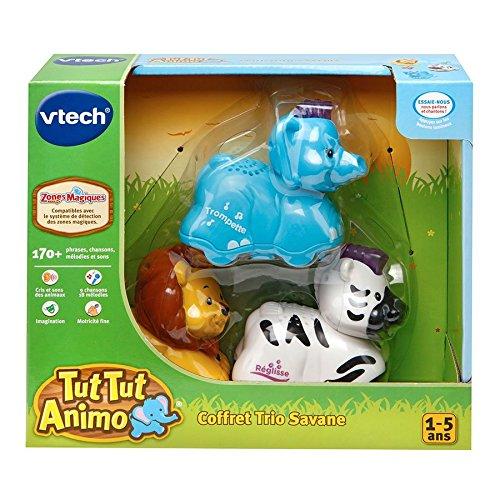 Vtech - 215315 - Figurine - Animal - Tut Tut Animo - Coffret Trio Savane - Lion + zèbre + éléphant