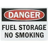 "SmartSign Adhesive Vinyl OSHA Safety Sign, Legend ""Danger: Fuel Storage No Smoking"", 10"" high x 14"" wide, Black/Red on White"