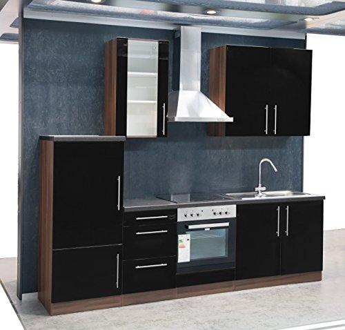 Mebasa-MCUKB27NS-Kche-Moderne-Kchenzeile-hochwertige-Einbaukche-270-cm-Hochglanz-Kche-inkl-Einbaugerte-Einbaukhlschrank-A-Einbauherd-Glaskeramik-Kochfeld-Edelstahl-Einbausple-Dunstabzugshaube-PKM-DH60