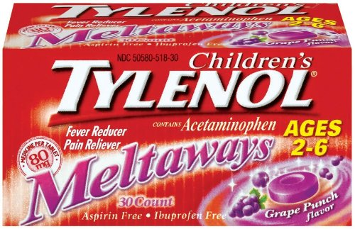 Tylenol Fever Reducer/Pain Reliever, 80 mg, Tablets, Grape Punch Flavor 30 count