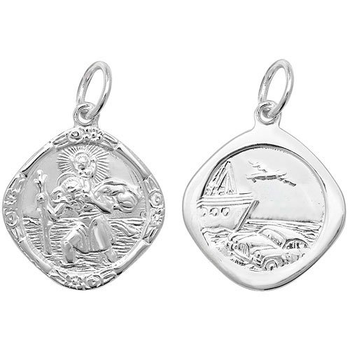 Childrens Sterling Silver Medium Double Side Cushion St Christopher Pendant On A 14 Inch Curb Necklace