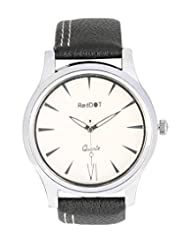 Red Dot White Dial Analog Watch For Men