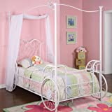 """Powell Princess Emily """"Shabby Chic White"""" with Pink Sand-Through Carriage Canopy Twin Size Bed"""