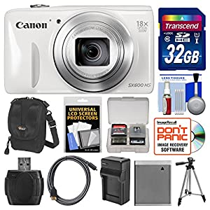 Canon PowerShot SX600 HS Wi-Fi Digital Camera (White) with 32GB Card + Case + Battery & Charger + Tripod + HDMI Cable + Kit