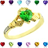 14k White Gold February Birthstone CZ Heart Claddagh Ring with Natural Diamonds
