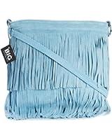 Big Handbag Shop Womens Suede Leather Tassle Fringe Shoulder Bag