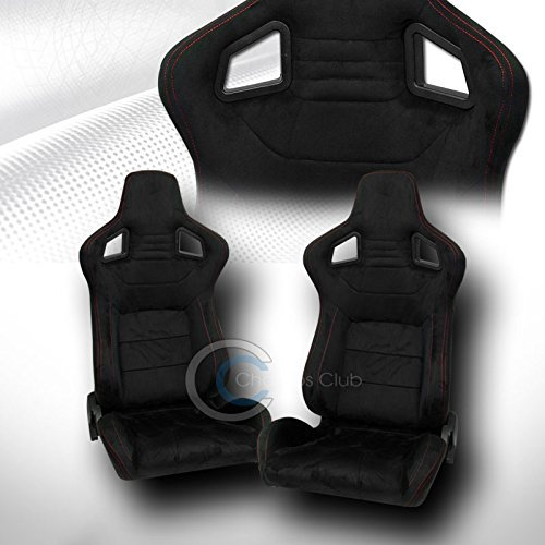 UNIVERSAL MU BLK SUEDE RED STITCH RECLINABLE RACING BUCKET SEATS+SLIDER PAIR C01 (Camaro Ss Racing Seats compare prices)