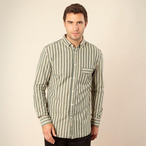 Rocha.John Rocha Designer Dark Green Wavy Striped Casual Shirt