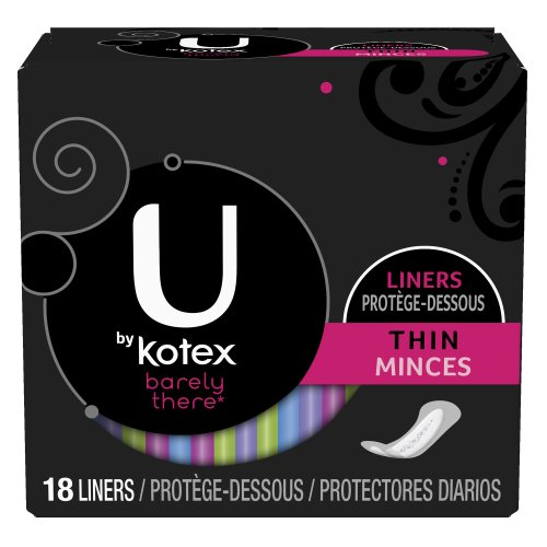 Kotex U Barely There Liners, Thin, 18 ct.