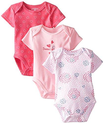Petit Lem Baby-Girls Newborn 3 Pack Bodysuits-Hearts, Fuchsia/Pink, 6 Months